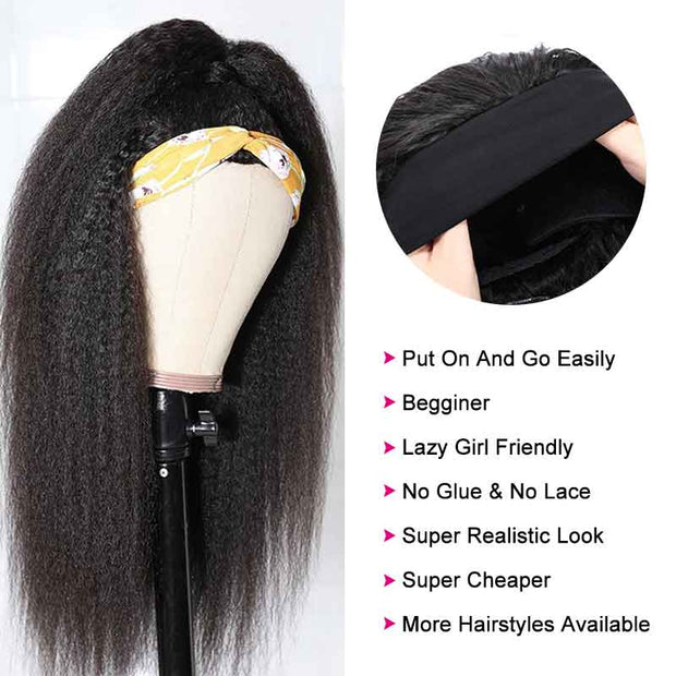 Ali Grace Fashion Yaki Kinky Straight Headband Wigs Glueless Human Hair Wigs For Black Women Headband Wig AliGrace