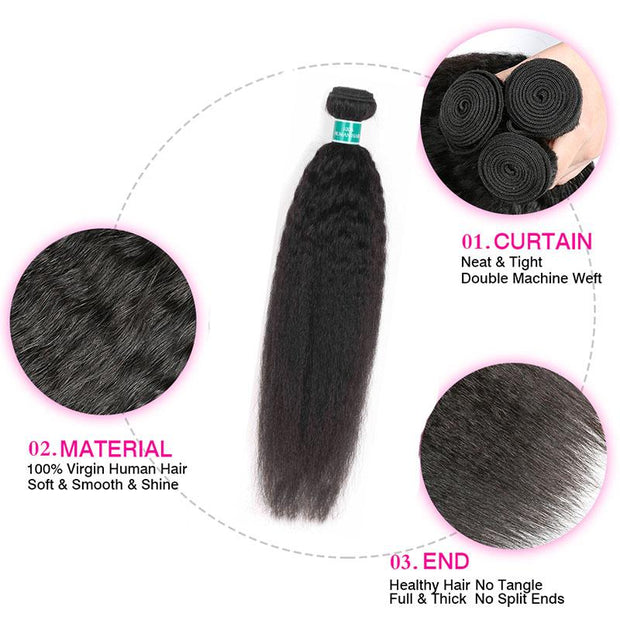 Kinky Straight Human Hair 4 Bundles-9