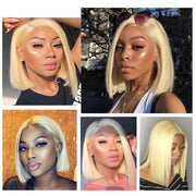 Ali Grace 613 Blonde Human Hair Wig 13x6 Bob Lace Front Wigs Pre Plucked Straight Human Hair Wigs For Black Women Short Bob Wig AliGrace