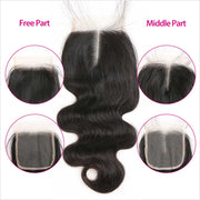 "Ali Grace Hair Brazilian Body Wave 5x5 Lace Closure With Baby Hair Free/Middle Part 8""-22"" Lace Closure"