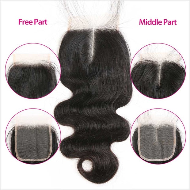 Malaysian Body Wave 4x4 Lace Closure Natural Color Remy Human Hair Lace Closure Free Part