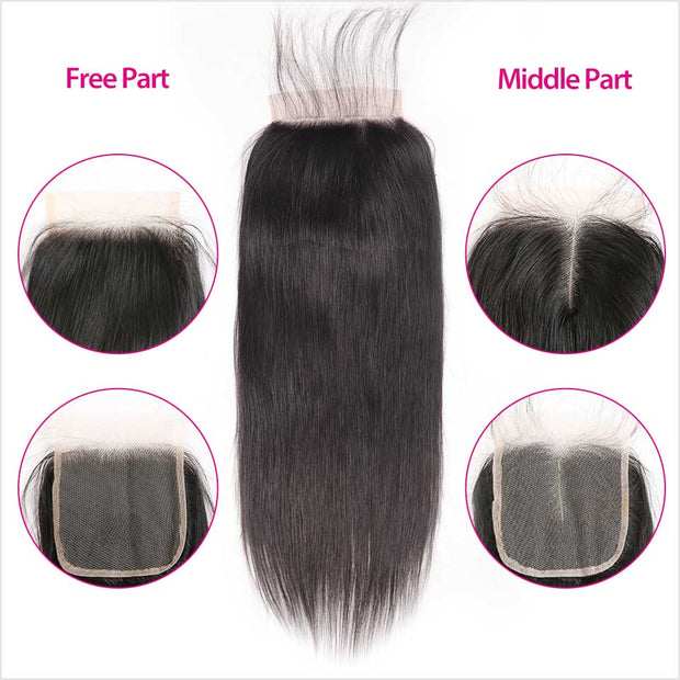 Malaysian Straight 4 Bundles With 4*4 Lace Closure
