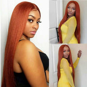 Straight Lace Front Wigs For Women Ginger Orange 4x4 Closure Wig with Baby Hair Ali Grace Brazilian Straight Human Hair Wigs
