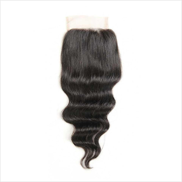 Malaysian Loose Wave 4*4 Closure 130% Density Remy Human Hair Lace Closure Free shipping