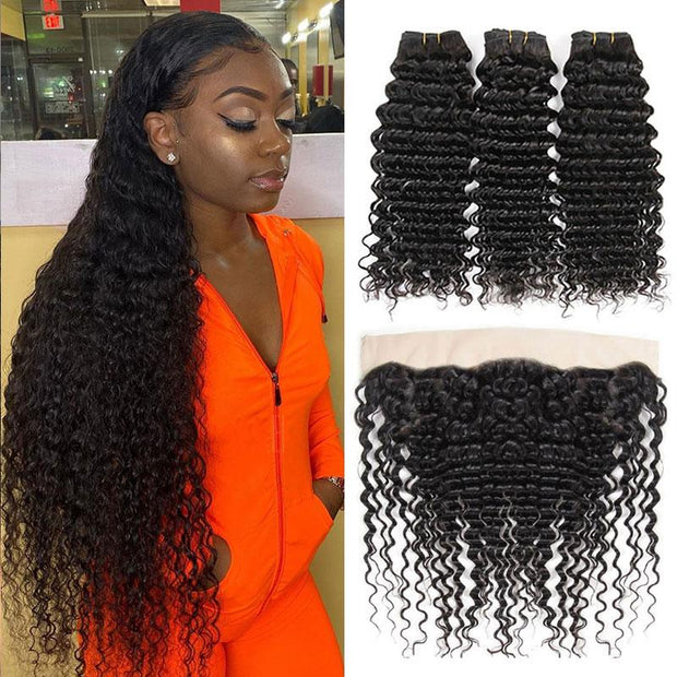 Malaysian Deep Wave Hair 3 Bundles With Lace Frontal Closure 13X4 Ear to Ear Lace Frontal Closure with Deep Wave Hair Bundles Malaysian Hair With Frontal AliGrace