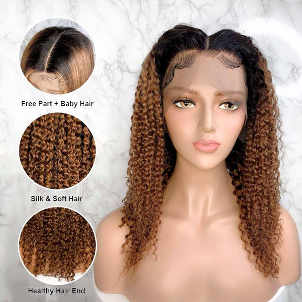 13x6 Lace Front Human Hair Wigs Kinky Curly Hair Wigs Ombre Color T1B/30 Pre Plucked With Baby Hair C004