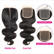 Peruvian Body Wave 4x4  Lace Closure 8-22inch In Stock Transparent Lace Closure Body Wave Free Shipping