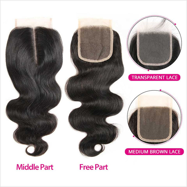 Human Hair 4 Bundles With Closure-14