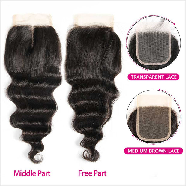 Ali Grace Peruvian Loose Wave 4*4 Closure Middle and Free Part Closure Hand Tied Human Hair Closure Swiss Lace