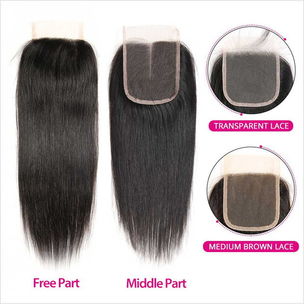 Malaysian Straight Hair 4*4 Closure Medium Brown/Transparent Swiss Lace Closure Remy Human Hair Straight Lace Closure
