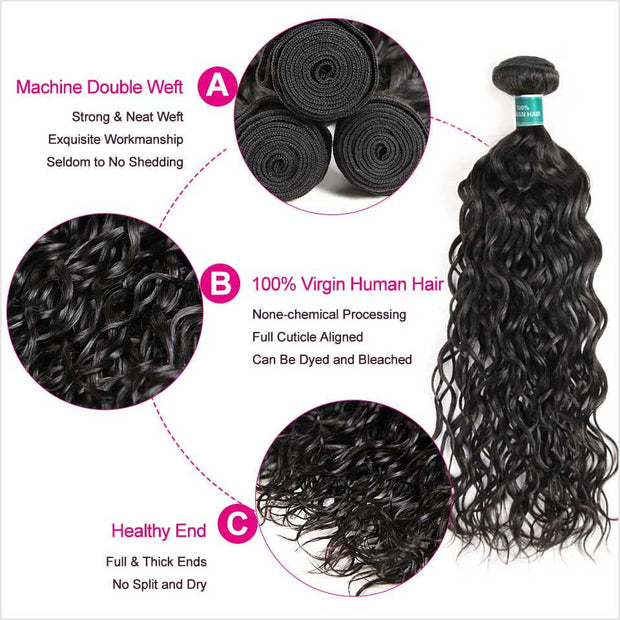 Water Wave 4 Bundles Human Hair Wigs-6