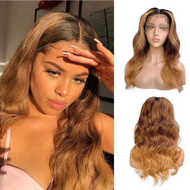 Ali Grace Wigs 13x6 Ombre Lace Front Wigs 1B/6/27 Brazilian Body Wave Human Hair Wigs Pre Plucked Hairline With Baby Hair Remy