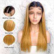 13*6 Ombre Human Hair Wigs Honey Blonde Straight Lace Front Wig Pre Plucked Hairline With Baby Hair 1B/27 Color