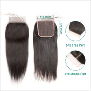 Peruvian Straight Human Hair 5*5 Lace Closure Unprocess Human Hair Straight Lace Closure No Shedding