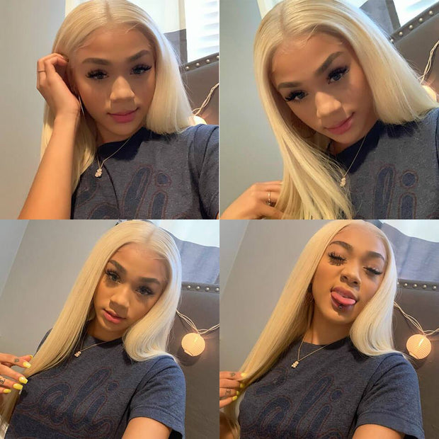 Ali Grace Blonde Straight 3 Bundles With 4*4 Lace Closure