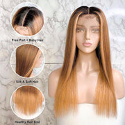 Ali Grace Straight Human Hair Wigs Full Density T1B/6/27 Ombre Color Lace Front Wigs With Pre-Plucked Hairline C003