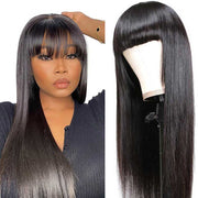 Ali Grace Wigs Cheap Brazilian Straight Hair Wigs with Hair Bangs 10-26''Hair Wigs Full Machine Made Human Hair Wigs for Women