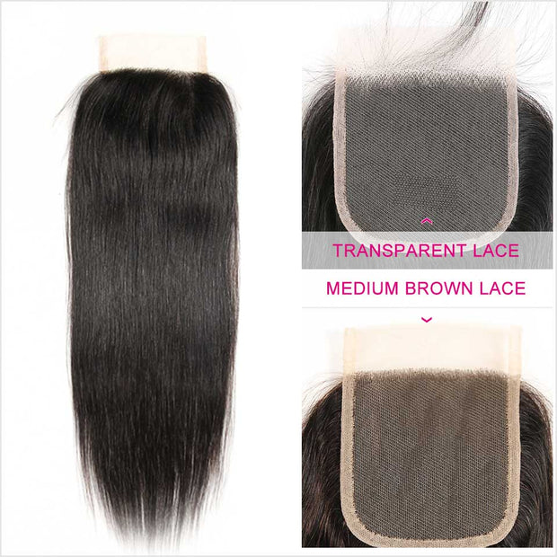 Ali Grace Peruvian Straight Hair 4*4 Lace Closure Transparent Medium Brown Swiss Lace Closure 100%  Human Hair Closure