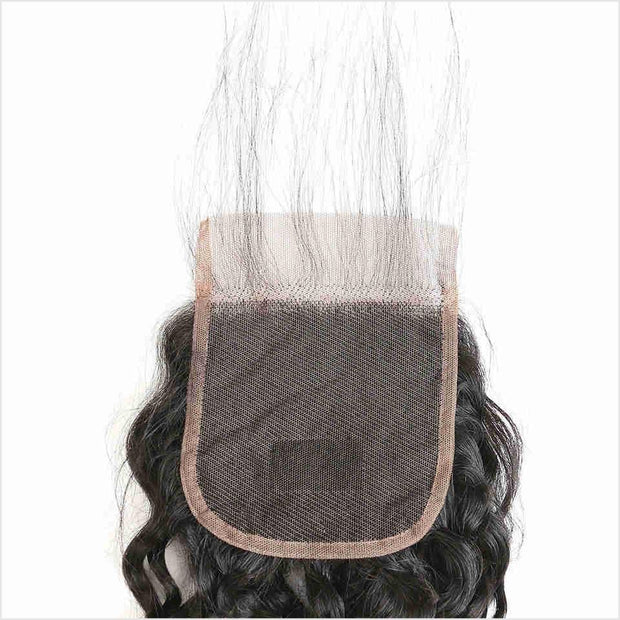 Peruvian Water Wave 4*4 Lace Closure Medium Brown/Transparent Lace 130% Density Human Hair Lace Closure