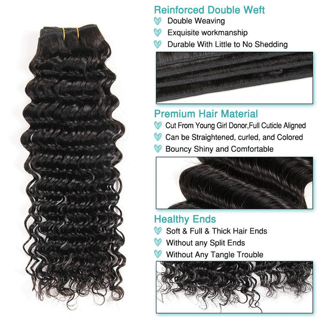 Deep Wave Hair Bundles With Lace Frontal-9