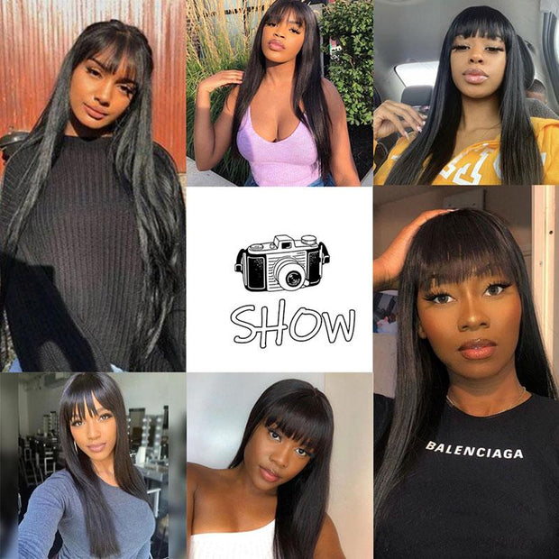 "Ali Grace Wigs Cheap Brazilian Straight Hair Wigs with Hair Bangs 10-26''Hair Wigs Full Machine Made Human Hair Fringe Wigs for Women Full Lace Wigs <span id=""sale-amount"">7% OFF</span> <span id=""sale-text"">Coupon Code: </span><span id=""sale-code"">NEWSALE</span> br<span id=""sale-text"">Normal Shipping Worldwide 4-7 Days</span>"