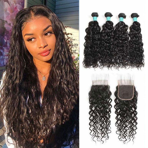 Ali Grace Brazilian Water Wave Hair 4 Bundles With 4*4 Lace Closure Human Hair Bundles with Closure Medium Brown and Transparent Lace Closure Brazilian Hair With Closure AliGrace
