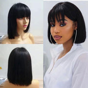 Ali Grace Wigs Cheap Short Blunt Straight Bob Wigs with Fringe Bangs Human Hair Wigs for Women Pre Plucked Hairline with Baby Hair Full Machine Made No Lace Wig Short Bob Wig AliGrace