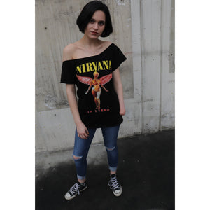 Nirvana Wings Collarless Bow Design Cut Top