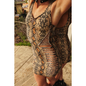 Ouroboros Snakeskin Print Cut Dress