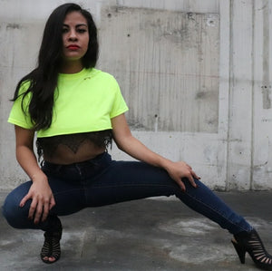 Highlight Green Lace Crop Top