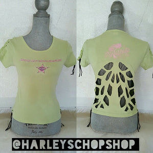 Harley Davidson Light Green Size 14/16 Braided Sleeves Lace Wing Cut Out Tee