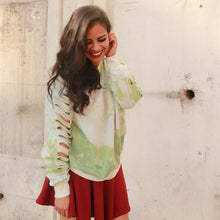 Load image into Gallery viewer, Green Acid Washed Cut Sleeves Sweater