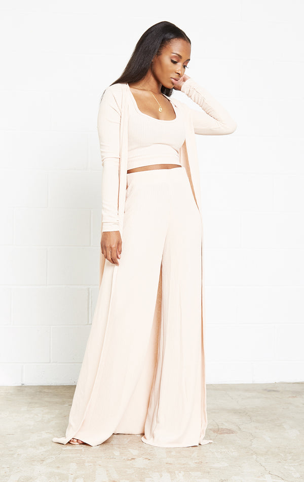 NUDE RIBBED MUST HAVE 3 PIECE SET