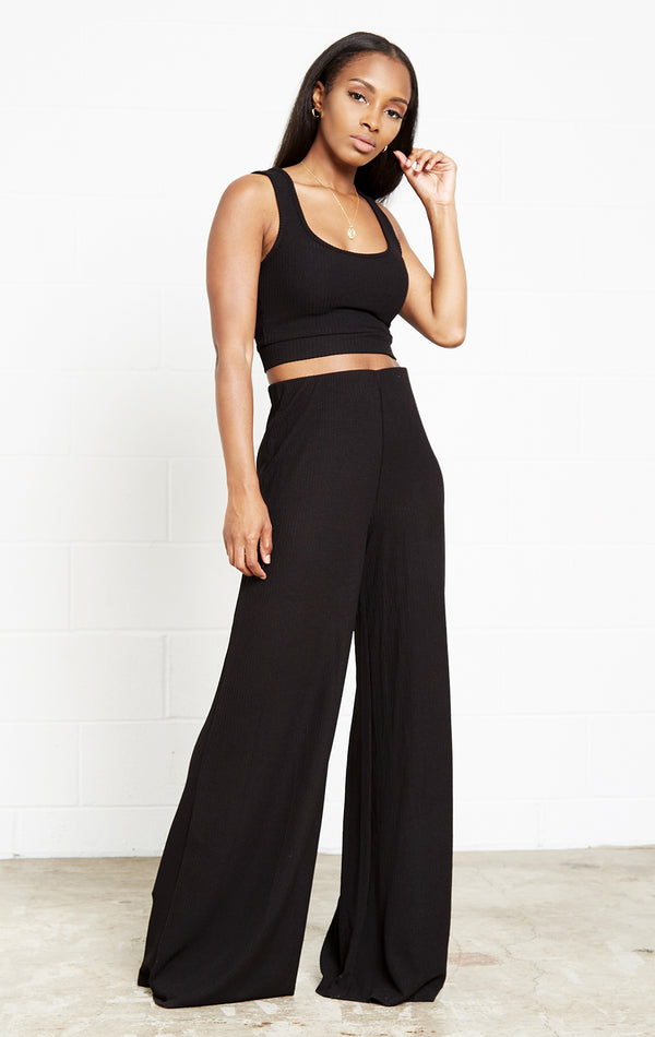 BLACK RIBBED MUST HAVE 3 PIECE SET