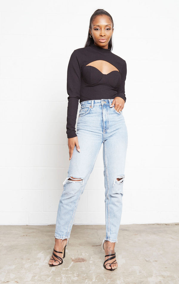 BLACK SIS CUT OUT MOCK NECK BODYSUIT