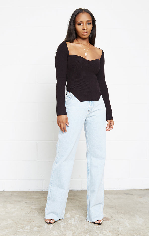 BLACK MARIE RIBBED KNIT TOP