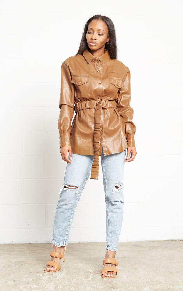 BROWN FAUX LEATHER LONG SLEEVE JACKET