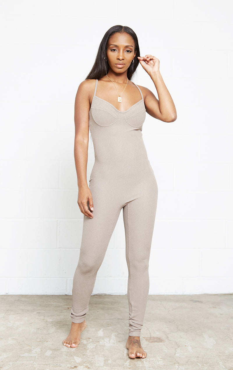 MOCHA GIRL BOSS JUMPSUIT SET