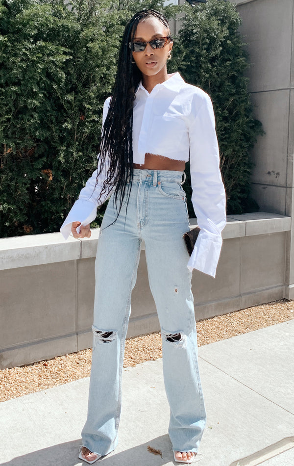 SUMMER CROP WHITE BLOUSE