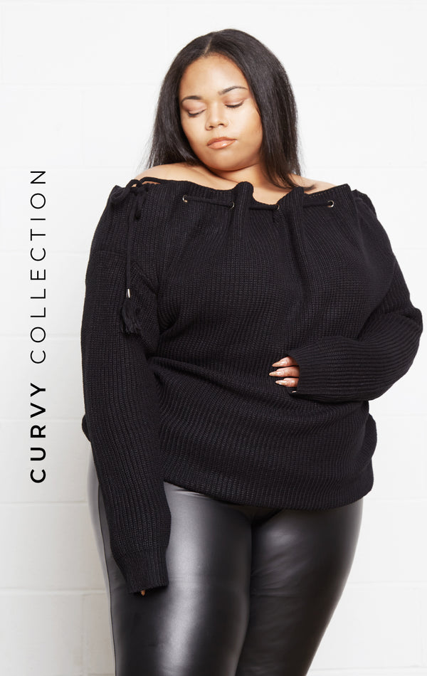 SIS COLD SHOULD KNIT SWEATER-CURVY