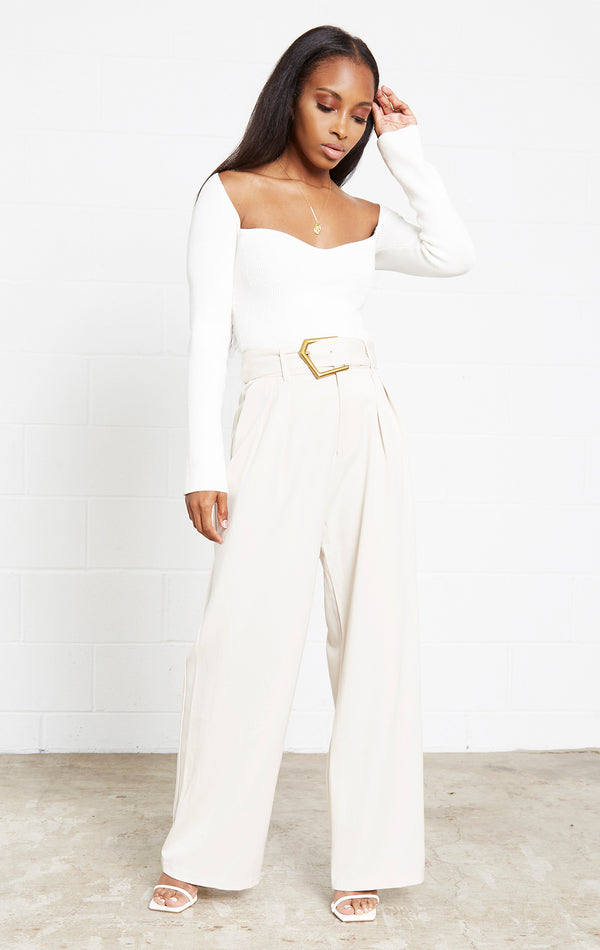 IVORY BIANCA GOLD BELT TROUSERS