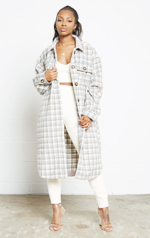 GREY PLAID COAT