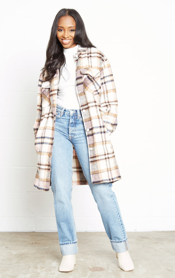 PINK PLAID SHIRT COAT
