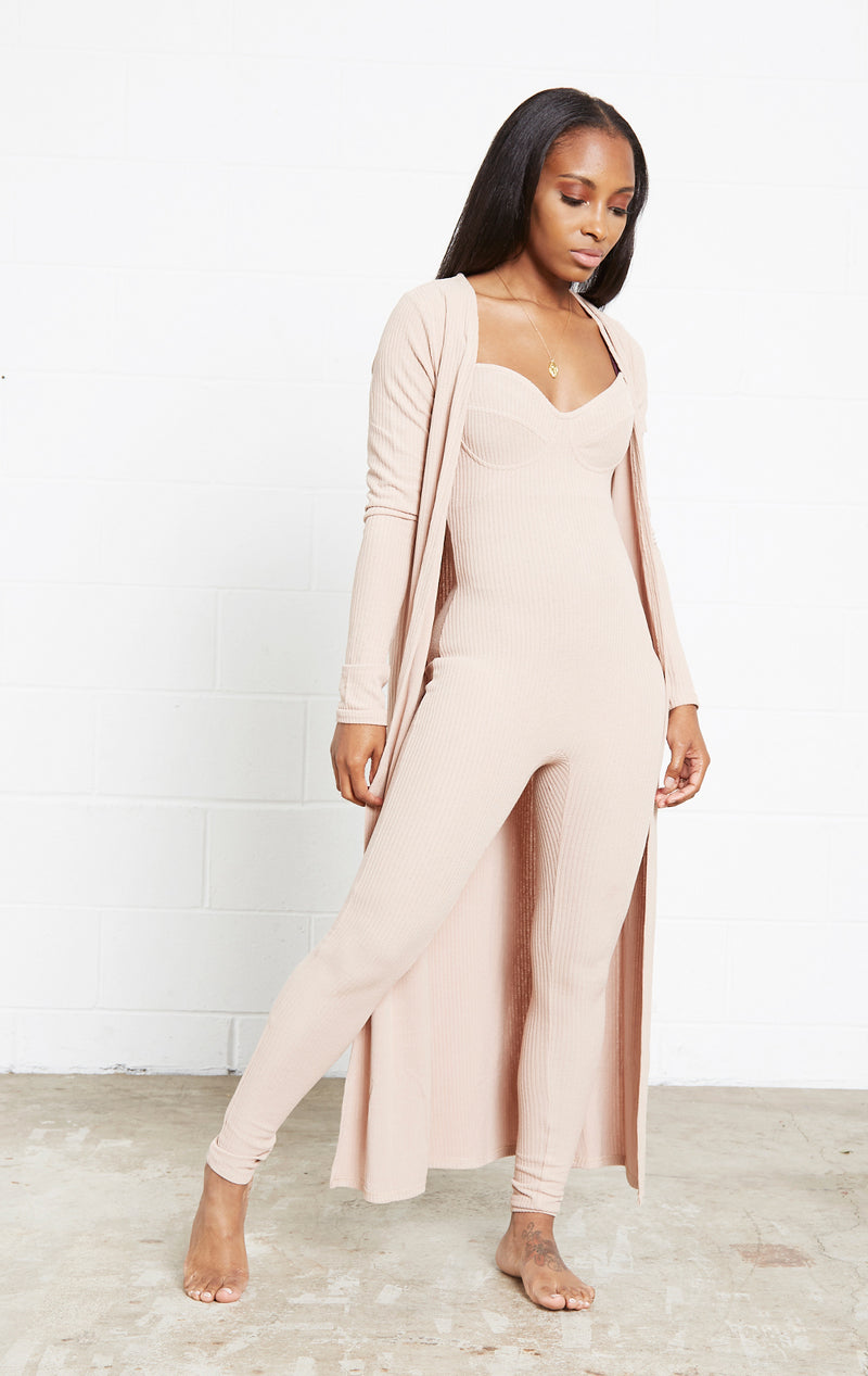 TAUPE GIRL BOSS JUMPSUIT SET