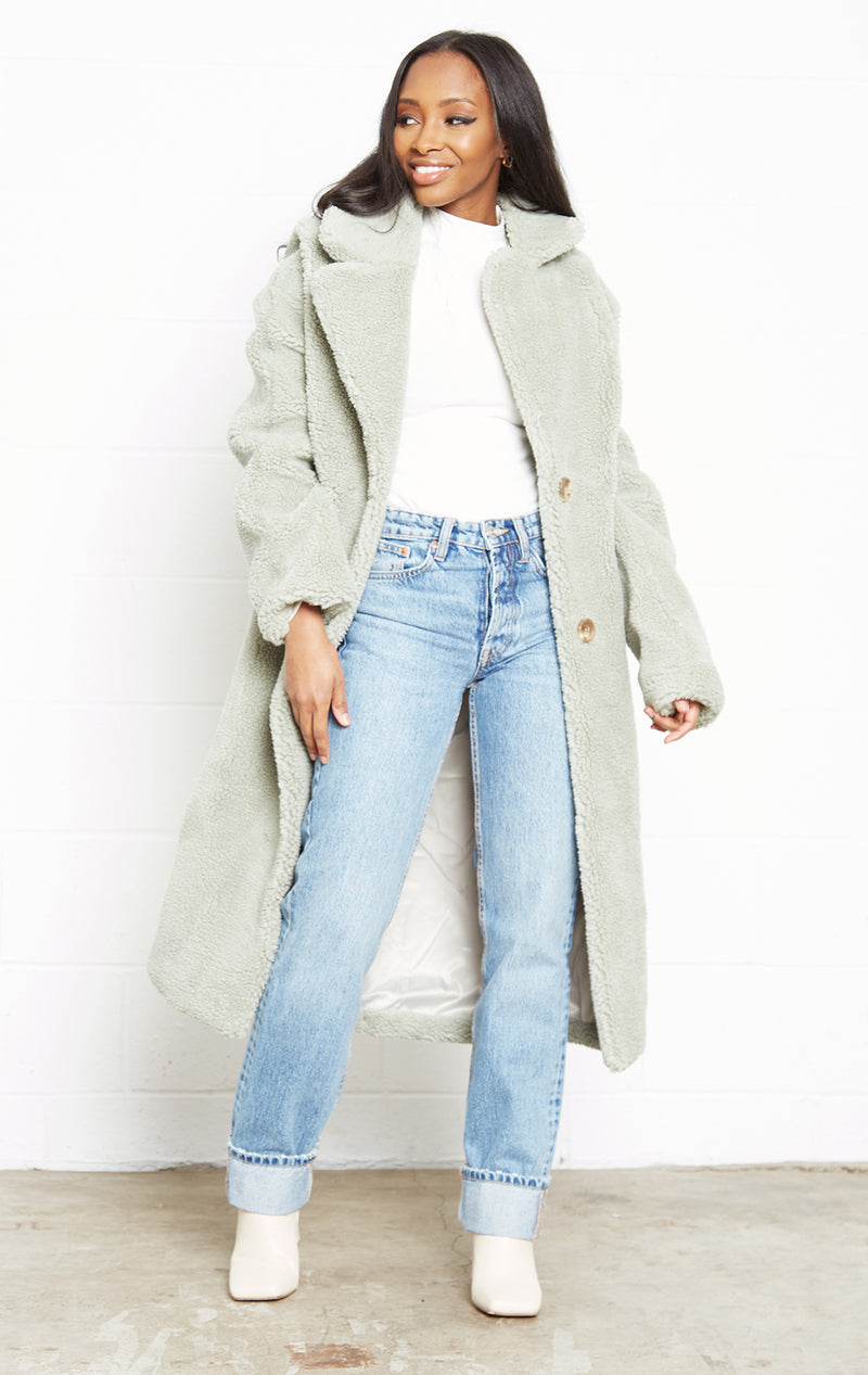 SOFT FAUX SAGE TEDDY COAT