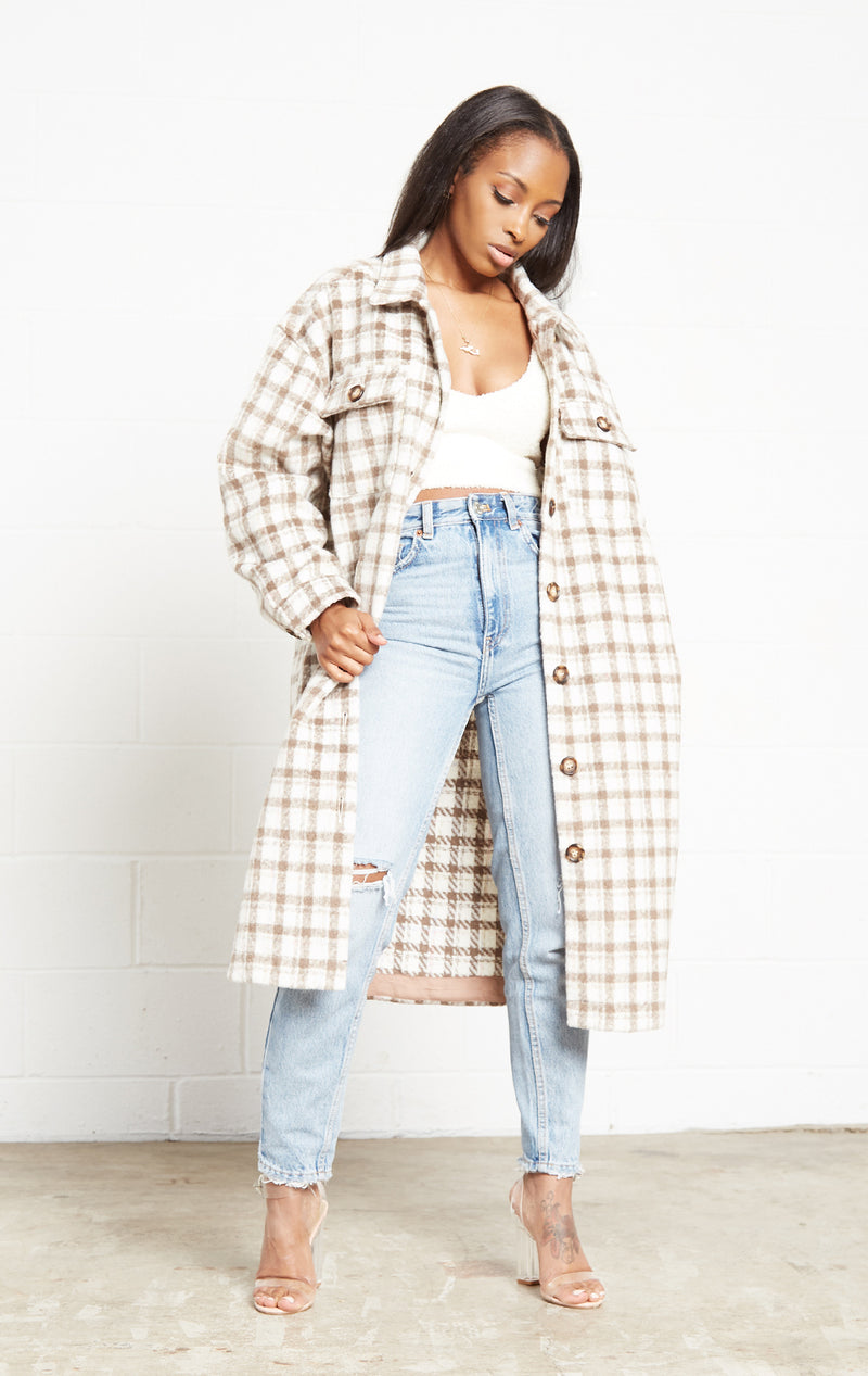 TAUPE PLAID COAT