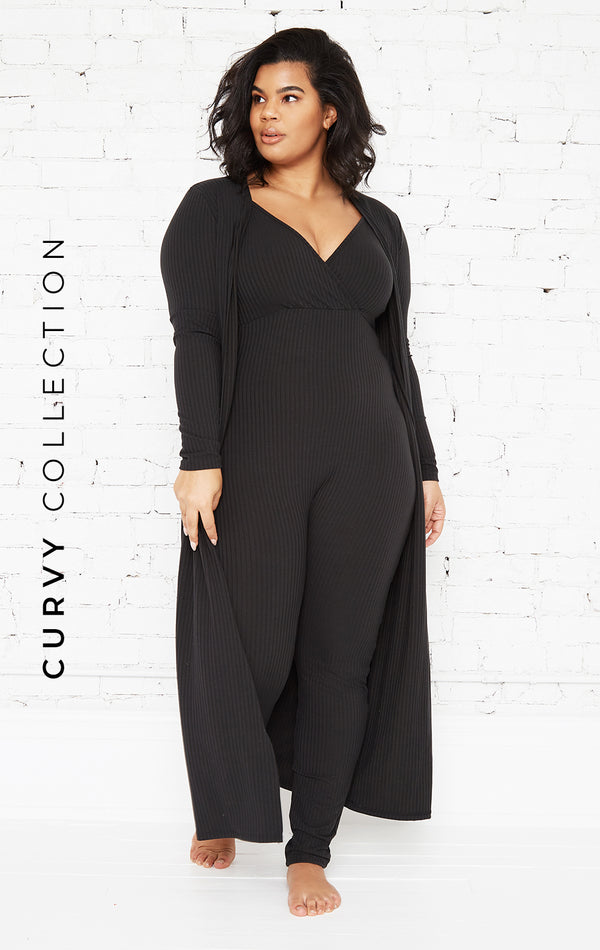 BLACK GIRL BOSS JUMPSUIT SET-CURVY