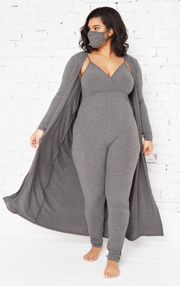 GREY GIRL BOSS JUMPSUIT SET-CURVY