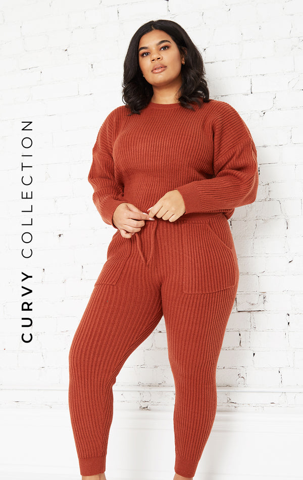 RUST COZY KNIT 2 PIECE SET-CURVY