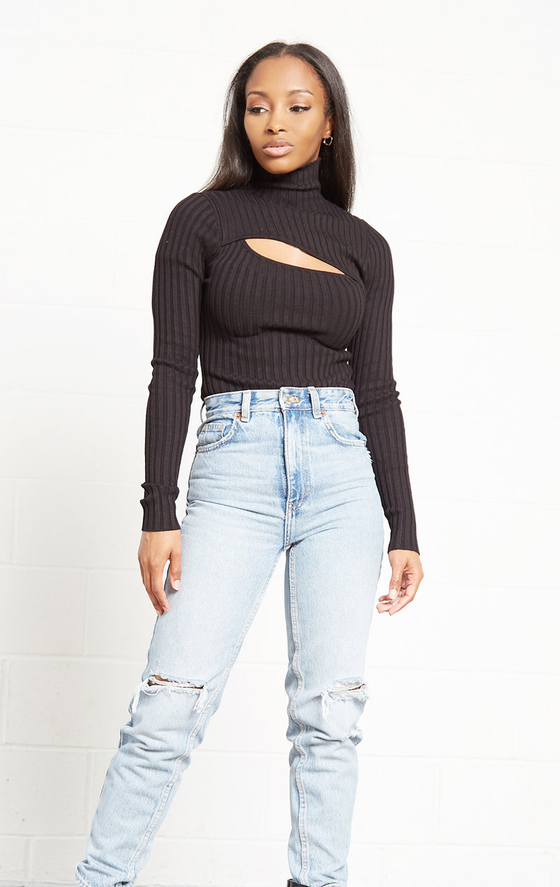 BLACK RIBBED TURTLE NECK